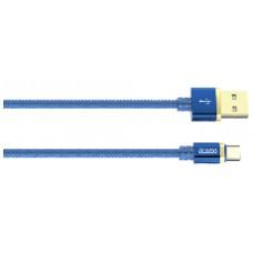 Кабель DELUXE, USB 2.0 - Type-C, 1м, 2.1A, синий, OLMIO