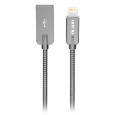 Кабель STEELY, USB 2.0 - lightning, 1.2м, 2.1A, серый, OLMIO