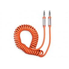 Аудиокабель AUX 3.5(m)-3.5(m), 1.8м, витой, оранжевый, OLMIO