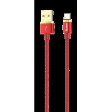 Кабель DELUXE, USB 2.0 - Type-C, 1м, 2.1A, красный, OLMIO