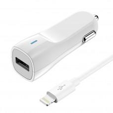 Автомобильное ЗУ USB, 1.2A,  +Lightning кабель в комплекте, OLMIO
