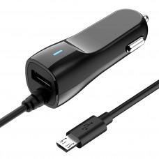 Автомобильное ЗУ MicroUSB, 2.1A, 2в1 (USB+microUSB), OLMIO