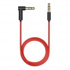 Аудиокабель AUX 3.5(m)-3.5(m), 1.5м, угловой, красно-черный, OLMIO