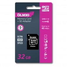 Карта памяти microSDHC 32GB Class 10 UHS-I, c адаптером, OLMIO