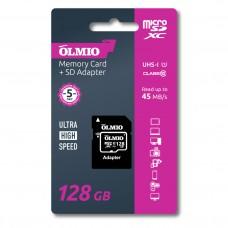 Карта памяти microSDXC 128GB Class 10 UHS-I, c адаптером, OLMIO