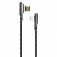 Кабель HANDY, USB 2.0 - lightning, 1.2м, 2.1A, угловой, двухсторонний, черный, OLMIO