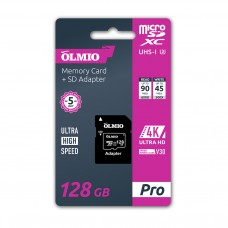 Карта памяти microSDXC 128GB V30, UHS-I Class 3 (U3), R:90MB/s, W:45MB/s, с адаптером, OLMIO