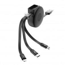 Кабель SLIDE, USB 2.0 - 3-в-1, microUSB/lightning/typeC, раздвижной, 1м, 2.1A, OLMIO