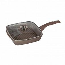 Сковорода - гриль с крышкой и несъемной ручкой «Гранит» Brown 28x28