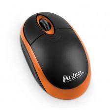Мышь беспроводная Cordless WM-025, 3кн, 1200DPI, USB наноресивер, черно-оранжевая, Partner